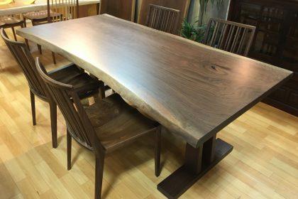 一枚板,天然木,無垢,ダイニング,テーブル,ブラックウォールナット