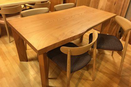 欅(ケヤキ) 一枚板テーブル (国産材/長方形四本脚付)