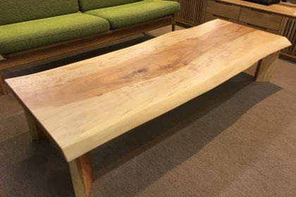 栃(トチ) 一枚板ローテーブル (国産材/長方形四本脚付) 座卓
