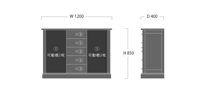 山室木工,「ESPOIR(エスポアール)」サイドボード1200,旭川家具