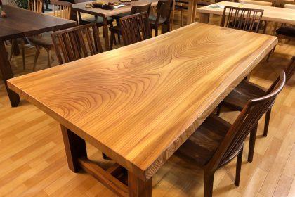 飛騨の家具 欅(ケヤキ)一枚板テーブル(国産/兼用脚付) 木匠舘マイドゥ