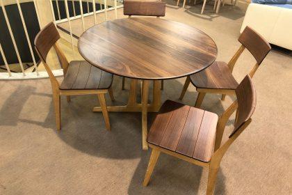 飛騨の家具 起立木工 丸テーブル ダイニングセット ツートン ウォールナット 無垢 天然木 国産 木匠舘マイドゥ 大阪