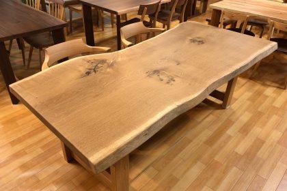 ナラ 楢 オーク 一枚板テーブル 飛騨の家具 無垢 天然木 枚方家具団地 木匠舘マイドゥ